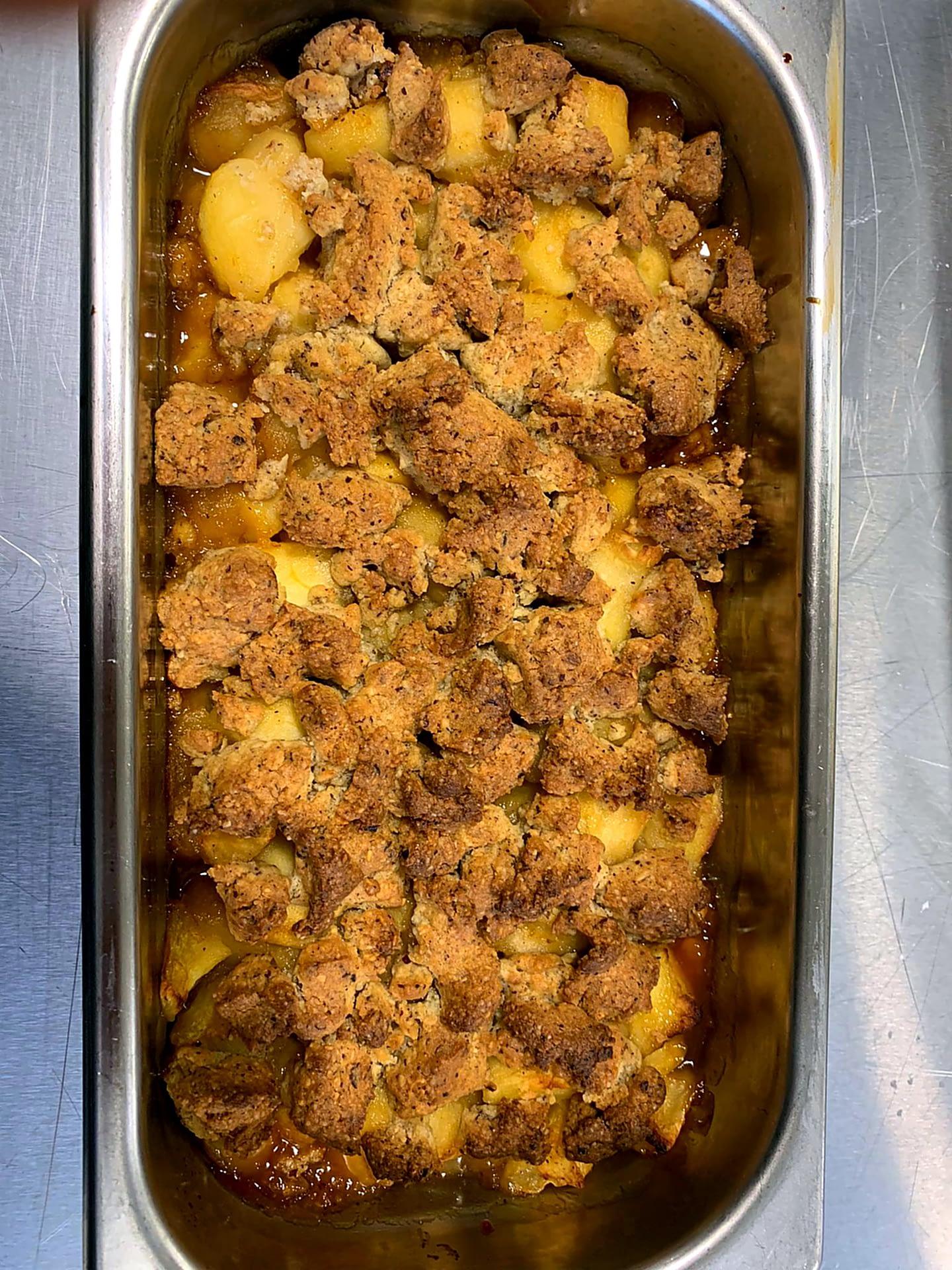 Crumble pommes gingembre et miel